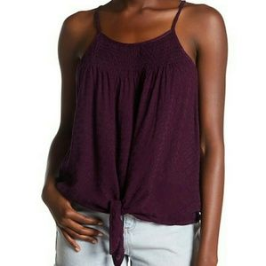 Wild Pearl Tie Front Smocked Cami Purple Plum NWT